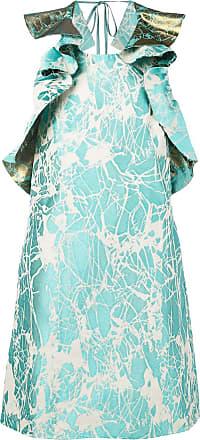 Ultra Chic marble-jacquard dress - Blue