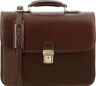 Tuscany Leather Cartella Porta notebook in pelle 3 scomparti Testa di Moro 6c2b6cf455a