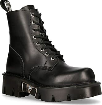 New Rock Mili-084N-S3 Black Gothic Boots Military Unisex 8 Hole Biker Shoes Goth 39