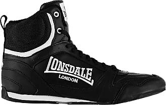 Lonsdale Mens Boxing Boots Training Lace Up Sport Shoes Trainers Footwear Black/White UK 10