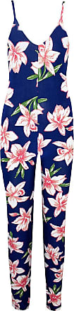 Be Jealous Womens Printed Sleeveless Strappy Maxi Jumpsuit Navy & Pink Flower Plus Size (UK 20/22)