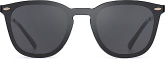 JIM HALO Rimless Sunglasses One Piece Mirror Reflective Eyeglasses for Men Women (Black/Grey)
