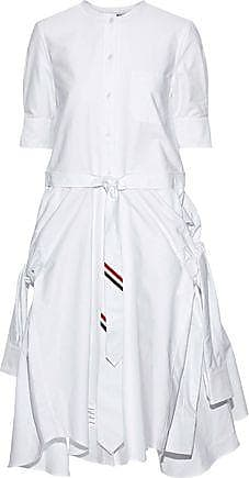 Thom Browne Thom Browne Woman Asymmetric Tie-front Cotton-poplin Shirt Dress White Size 42