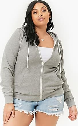 Forever 21 Plus Forever 21 Plus Size Zip-Up Hoodie Heather Grey