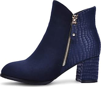 Generic Women Bootie Solid Color Round Toe Zip Suede Casual Shoes Ladies Winter Short Plush Lined Warm High Heel Ankle Boot Blue