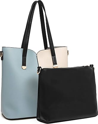 Quirk Two Tone 2 Piece Shoulder Bag Set - Blue And Beige