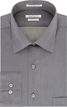 Van Heusen mens20F6000Herringbone Regular Fit Solid Spread Collar Dress Shirt Spread Collar Long Sleeves Dress Shirt - Black - 16.5-32/33