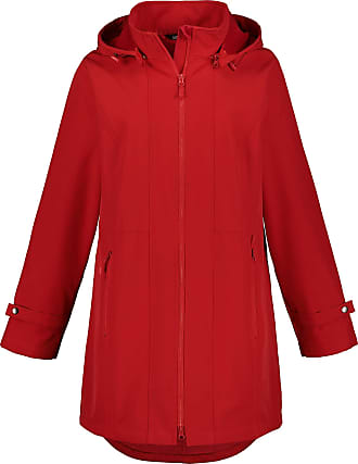 Ulla Popken Womens Plus Size Hooded Extended Back Softshell Parka Crimson 28/30 720023 53-54+