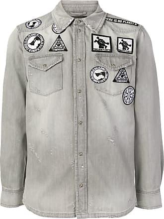 John Richmond patchwork denim shirt - Cinza
