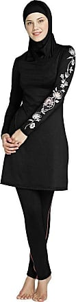 NPRADLA Women Swimsuit Long Sleeve Solid Plus Size Muslim Islamic Swim Set Full Cover Costumes Modest Swimwear Burkini Black