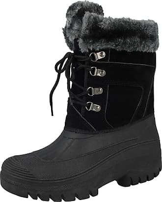 Groundwork LS005 Womens Mukker Stable Yard Winter Snow Lace Up Boots (UK 6, Black/Grey)