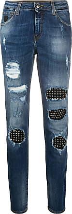 John Richmond Calça jeans reta com detalhe tachas - Azul