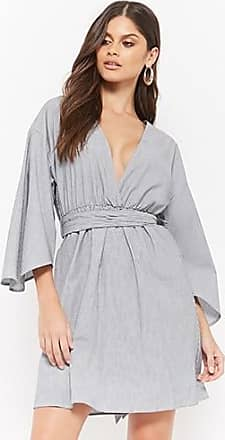 Forever 21 Forever 21 Pinstriped Kimono Dress Black
