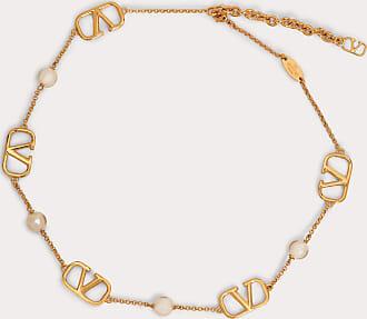 Valentino Garavani Valentino Garavani Vlogo Signature Necklace With Pearls Women Gold Brass 100% OneSize