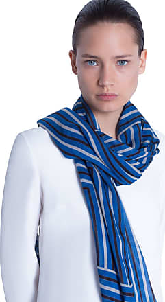 Akris Scarf in Cashmere with Square Stripe Print