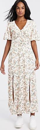 Miss Selfridge Lange jurk met wijde mouwen in perzikkleur-Crème