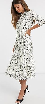 Warehouse polka dot tiered midi dress in white