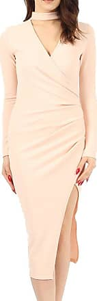 Re Tech UK Womens Ladies Choker Wrap Over Asymmetric Long Sleeve Bodycon Pencil Dress Party Nude