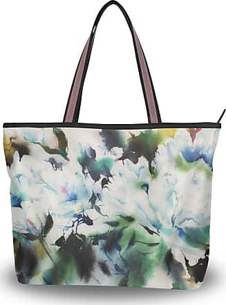 Lorona Women Peony Watercolour Painting Art Canvas Shoulder Hand Bag Large Capacity Tote Bag