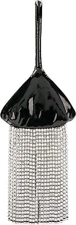 Christopher Kane Bolsa envernizada com cristais e franjas - Preto