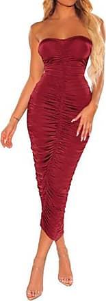 QIYUN.Z Off Shoulder Ruched Sexy Summer Dress Women Backless Bodycon Mini Dress Red Wine 2XL