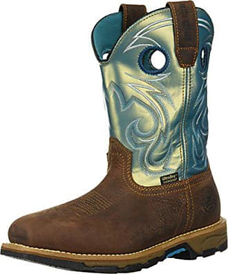 Irish Setter Work Womens Marshall Waterproof Steel Toe 9 Pull On Boot, Brown/Teal, 8.5 D US