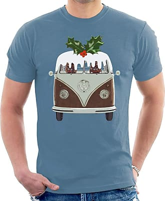 Volkswagen Christmas Pudding Camper Mens T-Shirt Indigo Blue