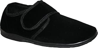 Northwest Territory Diabetic Orthopaedic Mens Easy Close Wide Fitting Touch Close Bar Strap Shoes Slippers Size, Black Plain, 10 UK