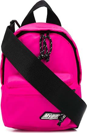 Msgm logo patch adjustable backpack - PINK