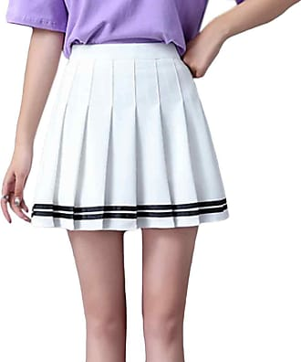Inlefen Womens Summer Plaid Skirt Harajuku Style Pleated Skirt Wild a Word Skirt Elastic Waist Kawaii Striped Skirt Candy Mini Cute School Uniform Skirt White