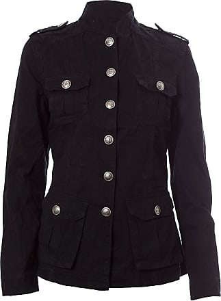 Noroze Ladies Military Style Summer Jacket (10(38), Silver Button Black)