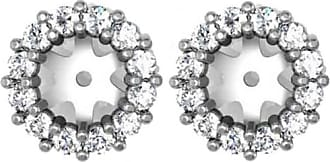 Pompeii3 SI.55CT Halo Diamond Earring Jackets 14K White Gold Fits.50CT Stones (5-5.5MM)