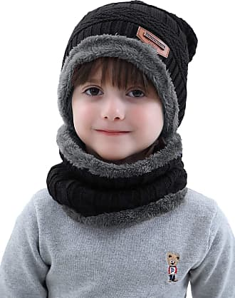 Aibrou Kids Winter Beanie Scarves Warm Knitted 2 Pieces Outdoor Sports Skiing Hat Scarf Gloves Set