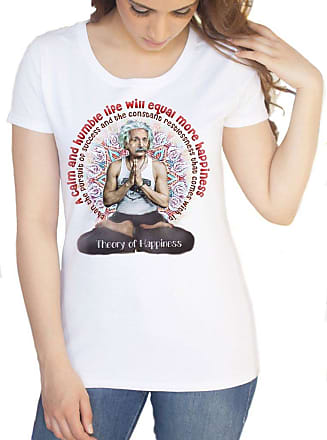 Irony Womens White T-Shirt Albert Einstein Meditation Theory of Happiness Print TS1037L (Medium)
