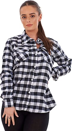 JD Williams Ladies Casual Flannel Shirts Brushed Cotton Check Long Sleeve Pleated Red Black