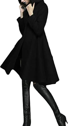 H&E Womens Vogue Hooded Single Breasted Swing Overcoat Trench Coat Black XL