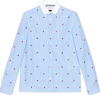 Gucci Camisa Cambridge de fil coupé con abeja 8de7b54e7b0