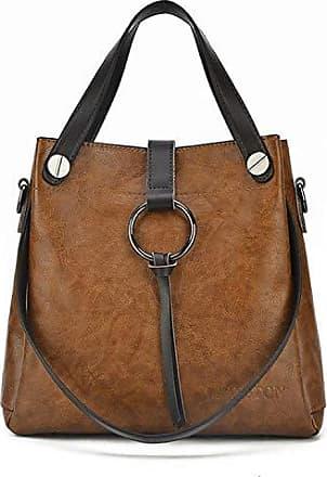 Frau Echtes Leder Braun Tote Handtasche Schultertasche Women Einkaufen Beutel