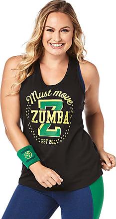 Zumba Black Graphic Print Fitness Dance Workout Racerback Tank Tops For Women, Bold Black 10, XS