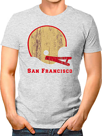 OM3 San-Francisco-Helmet - T-Shirt | Mens | American Football Shirt | S, Heather Grey