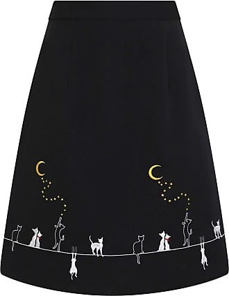 Banned Cats On A Roof Vintage Retro Skirt - UK-12 Black