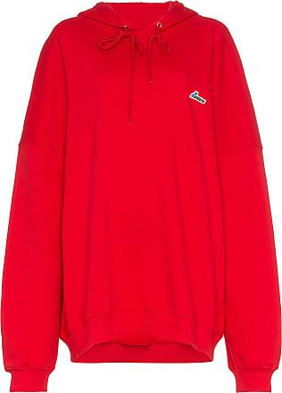 We11done Blusa de moletom oversized com patch de logo - Vermelho