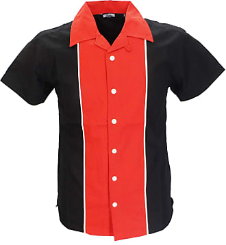 Relco Mens Rockabilly Bowling Black/Red Shirts (XXXLarge Collar Size 19-19.5 Underarm to Underarm 26ins)