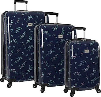 Chaps Lightweight Luggage 3 Piece Suitcase Set with Spinner Wheels-1, Navy Bouquet