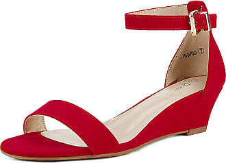 Dream Pairs Womens Ingrid Red Suede Ankle Strap Low Wedge Sandals Size 8 US/6 UK
