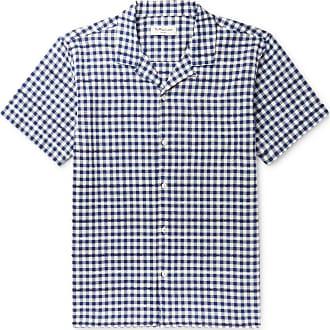 Ymc You Must Create Camp-collar Gingham Cotton-blend Shirt - Blue