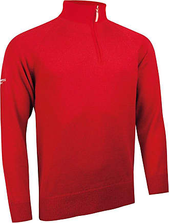 Glenmuir Mens MKO7402ZN Lambswool Blend Zip Neck Golf Sweater-Garnet-M - Chest 40-42in