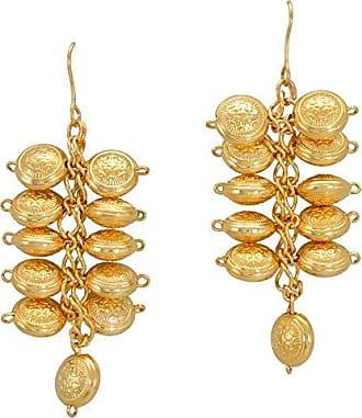 Tinna Jewelry Brinco Dourado Ramo Bolas Achatadas