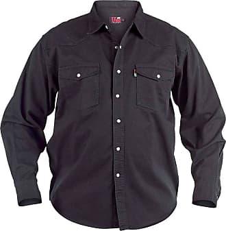 Duke London Duke Mens Denim Shirt, Black Western Style (Large, Black)