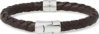 Bottega Veneta Intrecciato Leather And Silver Bracelet - Brown